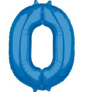 Folieballon Middelmaat Getal 0 Blauw L26 51x66cm