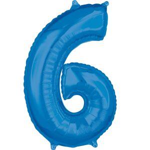 Folieballon Middelmaat Getal 6 Blauw L26 43x66cm