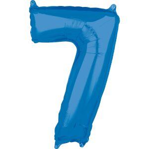 Folieballon Middelmaat Getal 7 Blauw L26 43x66cm