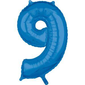 Folieballon Middelmaat Getal 9 Blauw L26 43x66cm