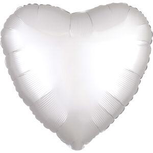 Folieballon Hart Satin Luxe White S15 43cm
