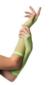 Vingerloze handschoenen lange visnet Neon Groen