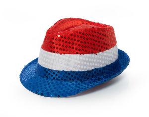 Pailletten gleufhoedje Nederland - rood/wit/blauw