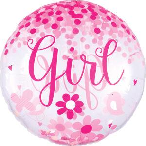 Folieballon Jumbo Confetti Balloon Baby Girl P45
