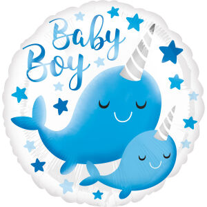 Folieballon Standard HX Narwhal Baby Boy S40