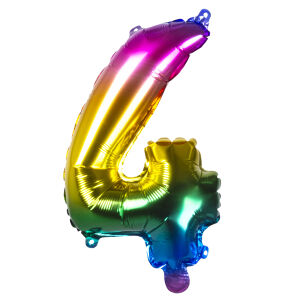 Folieballon rainbow '4' (36 cm)