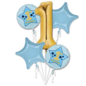 Folieballon Bouquet Boy 1st Birthday Blue & Gold P75