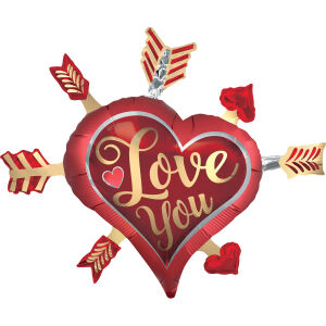 Folieballon SuperShape Love You Arrows P35 86x71cm