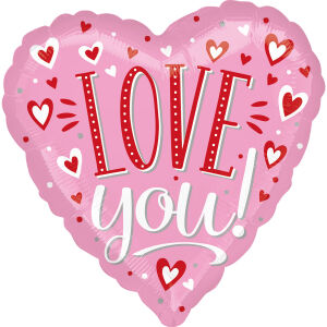 Folieballon Standard Love You White Dots heart S40