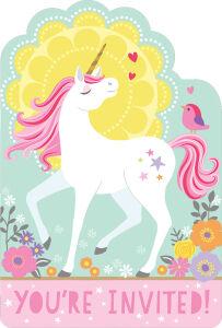 Uitnodigingkaartjes met stickers Unicorn