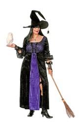Dameskostuum Heks - grote maten - zwart/paars