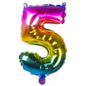Folieballon rainbow '5' (36 cm)