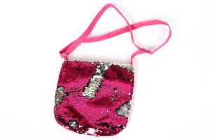 Schoudertas magic glitter pink zilver