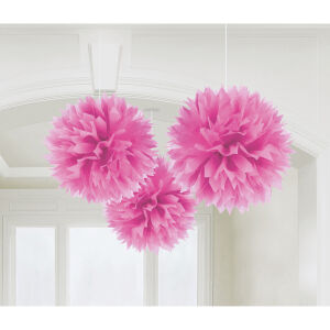Fluffy decoratiebollen papier baby roze