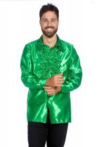 Ruchesblouse satijn - groen