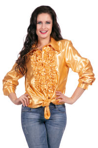 Ruchesblouse satijn - goud