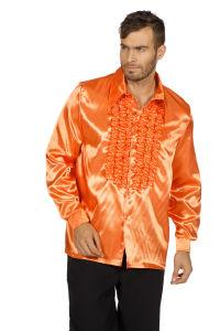 Ruchesblouse satijn - oranje