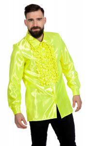 Ruchesblouse satijn - neon-geel