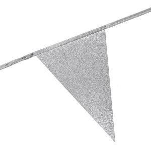 Glitter vlaggenlijn zilver
