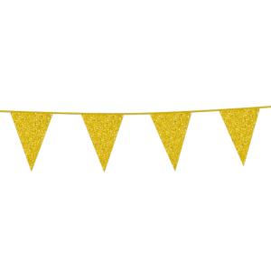 Glitter vlaggenlijn goud 6 meter