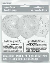 Ballonnen met zilveren confetti - 6 stuks
