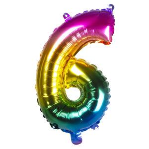 Folieballon rainbow '6' (36 cm)