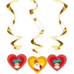 Hangdeco Foil Spiral Sinterklaas /3 stuks