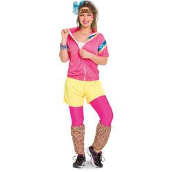 Jaren 80 Trainingspak voor Dames- roze-geel