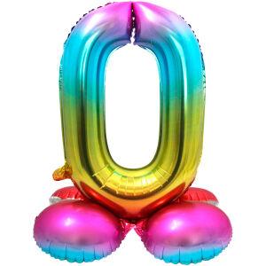 Folieballon met Standaard Cijfer 0 Regenboog - 81 cm