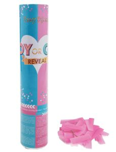 Confetti kanon 20cm roze gender reveal