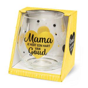 Waterglas Proost Mama hart goud