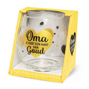 Waterglas Proost Oma hart goud