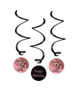 Swirl Decoratie Cheers to 50 years rosé/zwart