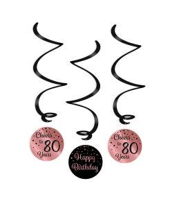 Swirl Decoratie Cheers to 80 years rosé/zwart