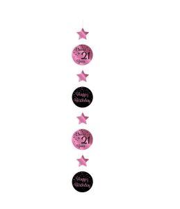 Hang Decoratie Cheers to 21 years rosé/zwart
