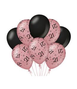 Ballonnen Cheers to 21 years rosé/zwart