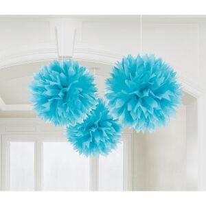 Fluffy decoratiebollen papier baby blauw