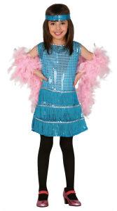 Charleston glitter jurk voor meisjes turquoise