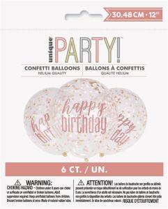 Confetti ballonnen Happy Birthday Rose goud