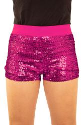 Hotpants met pailletten roze dames