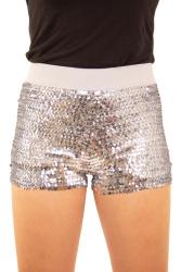 Hotpants met pailletten zilver dames