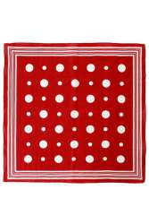 Zakdoek rood met witte bolletjes en strepen 56 x 56 cm.