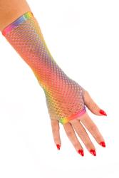 Nethandschoen lang vingerloos regenboog