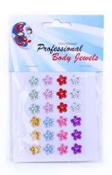 Decoratiestickers 24 bloemetjes 10 mm ass kleuren op kaart