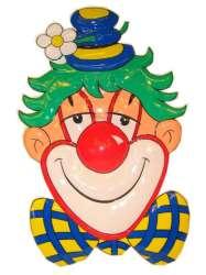 Clownsdeco met blauwe hoed en bloem 70 cm.