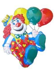 Clownsdeco met ballonnen 50 x 45 cm.