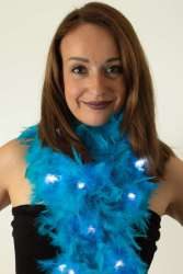 Boa turquoise met licht 180 cm. 50 gr.