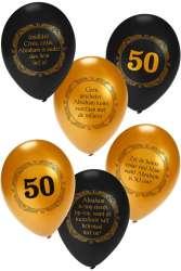 Ballonnen trosje voor Abraham met opdruk - zwart/goud
