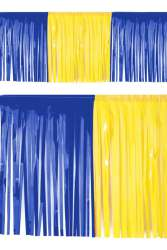 PVC slierten folie guirlande blauw/geel 6 meter x 30 cm BRANDVEILIG