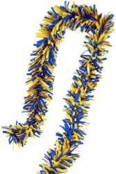 PVC folie draai guirlande blauw/geel 5 meter BRANDVEILIG